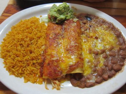 Red enchiladas, called enchiladas rojas on the menu