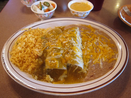 Green enchiladas from the lunch menu