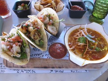 Shrimp tacos and tortilla soup