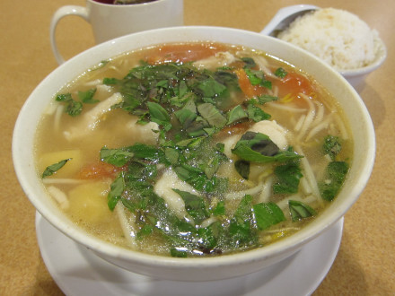 Sweet and sour catfish soup (canh chua)