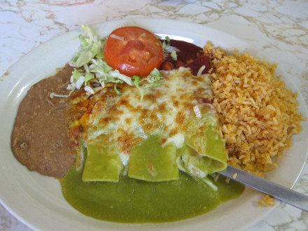 Cheese enchiladas with red and green sauce